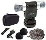 Movo VXR3000 Compact Stereo Video Microphone with Shock Mount, Foam & Deadcat Windscreens, Case for iPhone/Andoid Smartphones, Canon EOS/Nikon DSLR Cameras and Camcorders