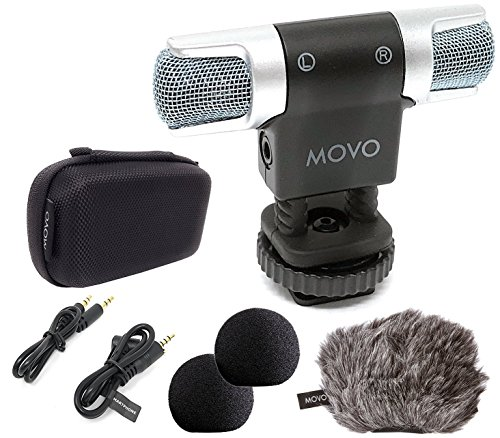 MOVO VXR3000 Universal PRO Compact Stereo Video Microphone Shock Mount, 1x Foam and Furry Deadcat Windscreens, 3.5mm, Case for iPhone and Android Smartphones, Canon EOS Nikon DSLR Cameras Camcorders (Best External Mic For Camcorder)