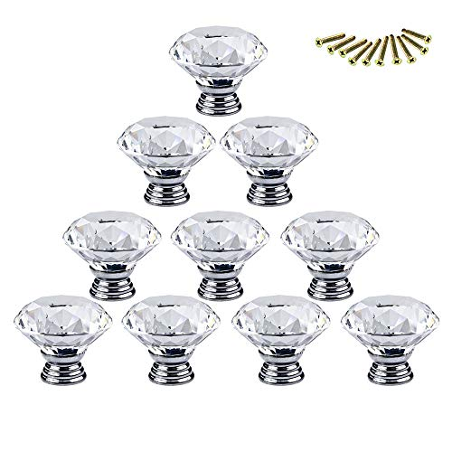 (Cabinet Pulls - 10pcs 30mm Diamond Shape Crystal Glass Knobs Cupboard Pulls Drawer Cabinet Handles Furniture Handle - M1311 Multi Copper Unique Amerock Multiple Two Individual Or Hardware)
