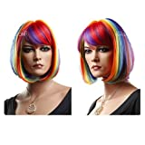 Japanese Style Colorful Rainbow Bob Wigs Synthetic Wigs for Women Costume Wigs