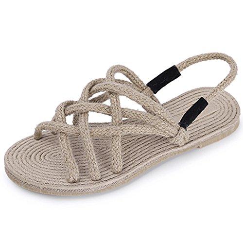 retro cuerda de verano sandals inferior Sandalias plana femenina romana casuales de cáñamo tejido zapatos estudiantes Blanco BYn0xfn