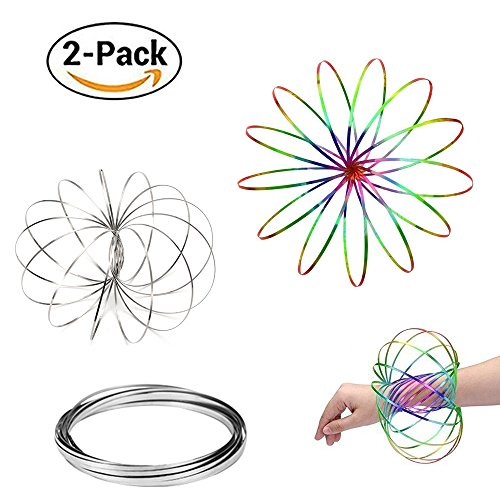 LIDANDAN Flow Rings, Kinetic Rings Toy Fidget Slinky 3D Spring Toy Sculpture Ring Game Toy Rainbow and Silver 2-pack for Kids Boys And Girl, Rave Accessories, Festival Accessories(Rainbow-Silver)