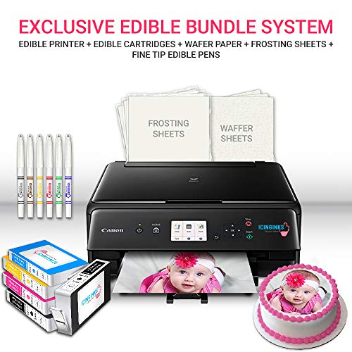 Icinginks Edible Printer Art Package - Comes with Edible Printer, Edible Cartridges, 20 Wafer Paper, 5 Frosting Sheets, Set of Standard Edible Markers - Best Cake Image Printer, Canon Edible Printer (Edible Photo Cookies)