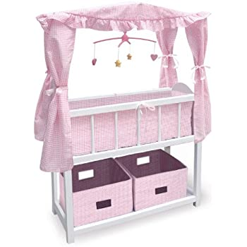 Amazon.com: Badger Basket Canopy Doll Crib with Baskets, Bedding ...