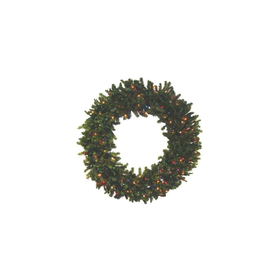 Commercial 8 Pre Lit Canadian Pine Artificial Christmas Wreath   Multi Lights