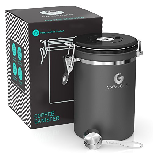 Coffee Gator Stainless Steel Container - Canister with co2 Valve, Scoop and eBook - Large, - In Black Ferrari