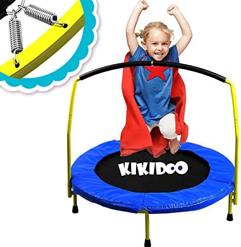 Toddler Trampoline With Handle – 36 Kids Trampoline With Handle – Mini Trampoline w Sturdy Frame, Coil Spring, Safety Padded Cover -Heavy Duty Mini Trampoline Indoor Outdoor Toddler Trampoline