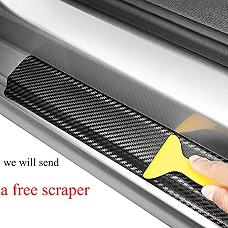 red JEYODA Door Entry Guard Carbon Fiber Car Door Sills Sticker Car Scuff Welcome Plate Stickers Vinyl Sticker for Chevrolet Colorado