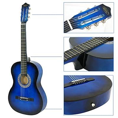 UBRTools Acoustic Guitar 38' Full Size Adult Blue Includes Guitar Pick & Accessories