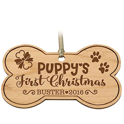 LifeSong Milestones Personalized Pet Christmas Ornaments 2016 for Family Pet Custom Engraved Xmas Dog Bone with paw Print Xmas Pet Gift Ideas for Stocking (Puppy's First ()