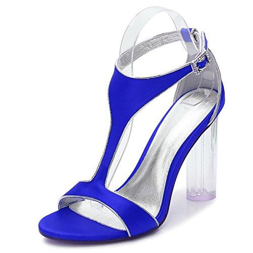 L@YC F2615-10 Cristal De La Boda De Las Mujeres Con Jane Low High Heels Prom Closed Cintas De SatéN Toe Peep Party Court Shoes Blue