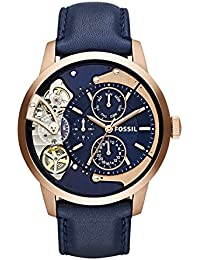 Men's Mechanical Hand Wind Stainless Steel and Leather Casual Watch, Color:Blue (Model: ME1138)