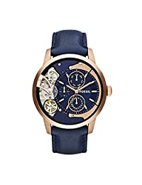 Fossil Men's ' Mechanical Hand Wind Stainless Steel and Leather Casual Watch, Color:Blue (Model: ME1138)