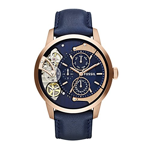 Fossil Men's Stainless Steel Mechanical-Hand-Wind Watch with Leather Calfskin Strap, Blue, 22 (Model: ME1138) (Rose Men Gold Fossil Watch)