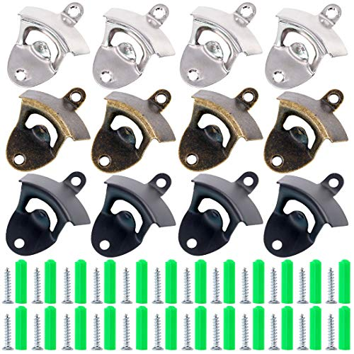 Swpeet 12Pcs 3 Colors Wall Mount Bottle Opener Kit with Screws, Vintage Rustic Bar Bottle Opener Wall Mount Rustic Beer Cap Opener with Mounting Screws for Kitchen Cafe Bars - -