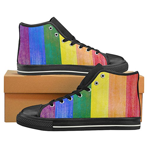 InterestPrint Fashion Sneaker Painted Rainbow Flag Colored Stripes Grunge Men's Classic High Top Canvas Shoes