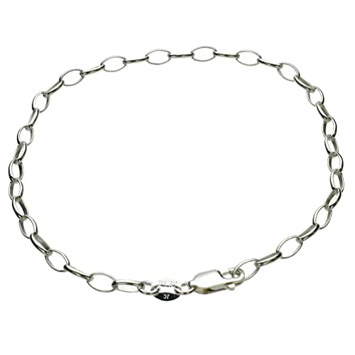 Amberta 925 Sterling Silver 3.1 mm Diamond Cut Oval Cable Charm Bracelet Size Chain Necklace 7.5