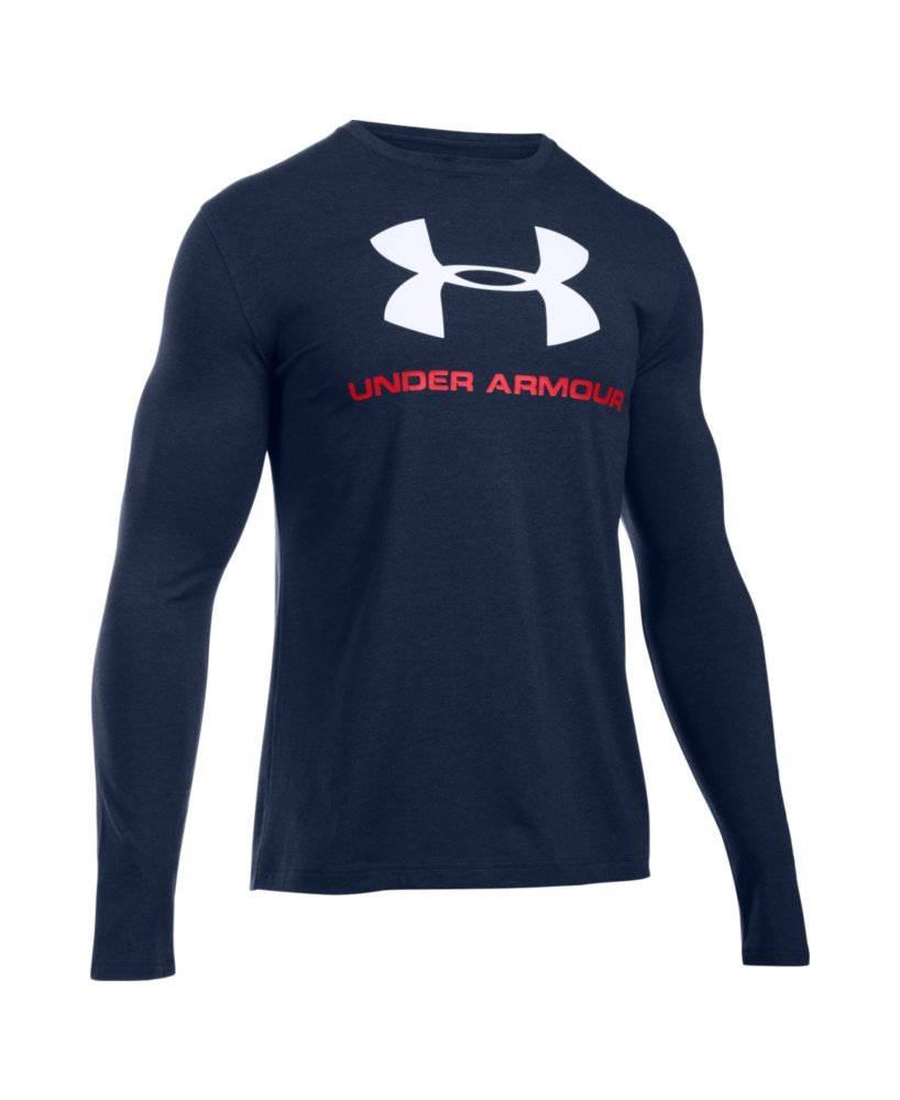 Under Armour Men's Sportstyle Long Sleeve T-Shirt, Midnight Navy /White, Large by Under Armour (Image #4)