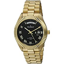 Peugeot Men's '14K All Plated Day Date Roman Numeral Big Black Face Fluted Bezel Luxury' Quartz Metal and Stainless Steel Dress Watch, Color:Gold-Toned (Model: 1029BK)