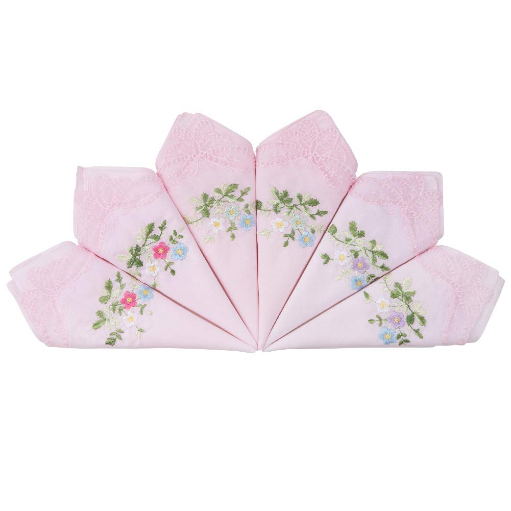 HOULIFE Damen Taschent/ücher aus Baumwolle Weich Hellpink Blumen Stickereien Stofftaschent/ücher mit Spitzen 6//12 St/ücke 29x29cm