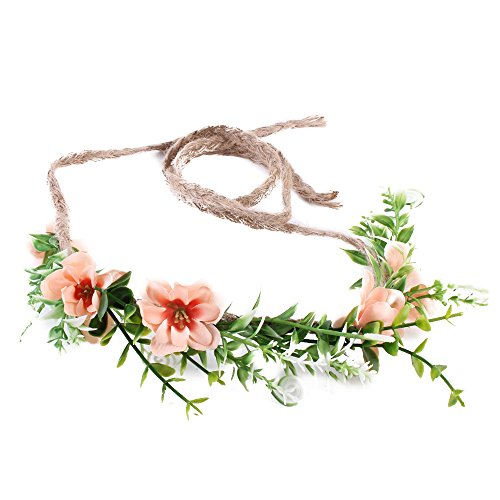 Tieback Flower Crown Flower Headband Baby Girl Toddler Woodland Green Leaf Floral Crown Wreath -