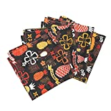 Roostery Tiki Aloha Tropical Tapa Hawaii Beach Black Linen Cotton Dinner Napkins Aloha Pineapples 1C by Muhlenkott Set of 4 Dinner Napkins