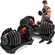 Adjustable Dumbbells Set 52.5lbs Fitness Dumbbell Standard Adjustable Dumbbell with Handle and Weight Plate fo