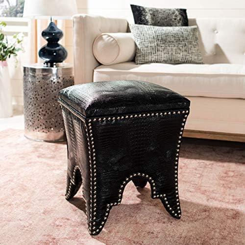 Safavieh Home Collection Deidra Black with Silver Nailhead Trim Ottoman