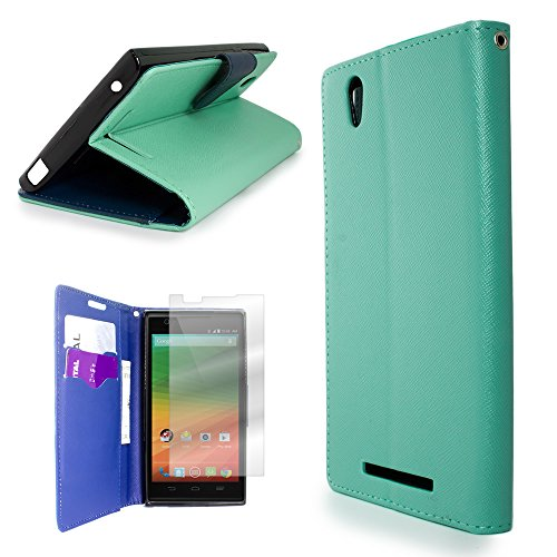 ZTE Zmax Wallet Phone Case and Screen Protector | CoverON (CarryAll) Pouch Series | Tough Textured Exterior (Teal / Navy Blue) Flip Stand Cover with Credit Card and Cash Holder Slots for ZTE Zmax Z970 by CoverON (Image #9)