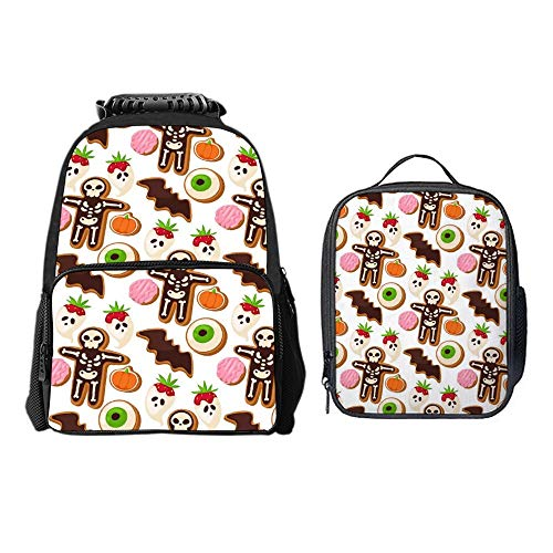SARA NELL School Backpack Halloween Cookie Mummy Backpack for Kids School Bag with Lunch Bag Lightweight Student Bookbags for Boys Girls
