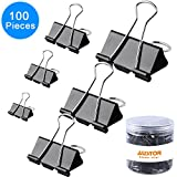 #10: AUSTOR 100 pcs Binder Clips Paper Clamp Clips Assorted 6 Sizes, Black