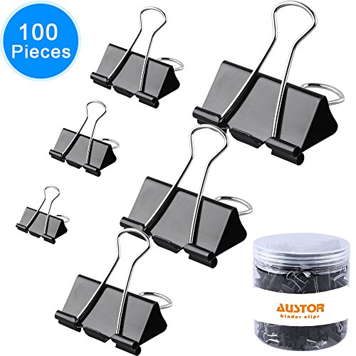 AUSTOR 100 pcs Binder Clips Paper Clamp Clips Assorted 6 Sizes, Black