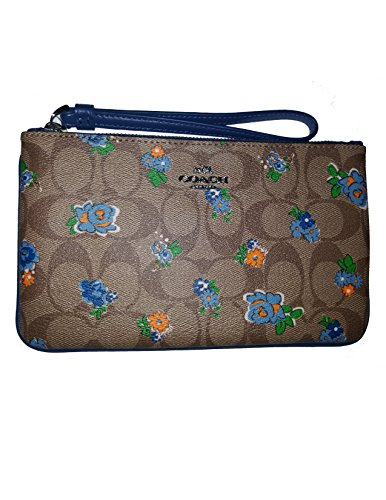 Coach Wristlet Clutch Wallet Purse Print Floral Logo Leat...