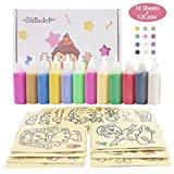 Sand Art kit , Colored Sand Art Kit Art Sand Scenic Sand wiht 10 Sheets Sand Art Painting Cards Set Children Art Toy, 12 Color (0.92 LB)