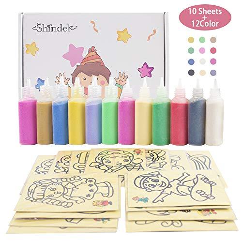 Color Of Sand (Sand Art kit , Colored Sand Art Kit Art Sand Scenic Sand wiht 10 Sheets Sand Art Painting Cards Set Children Art Toy, 12 Color (0.92)