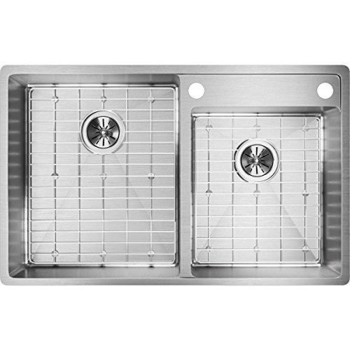 Elkay Crosstown ECTRUD31199RDBGS2 Offset Double Bowl Undermount Stainless Steel Kitchen Sink Kit with Water ()