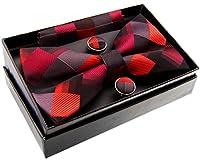 "Vintage Geometric Pattern Woven Pre-tied Bow Tie (5"") w/ Pocket Square & Cufflinks Gift Set"
