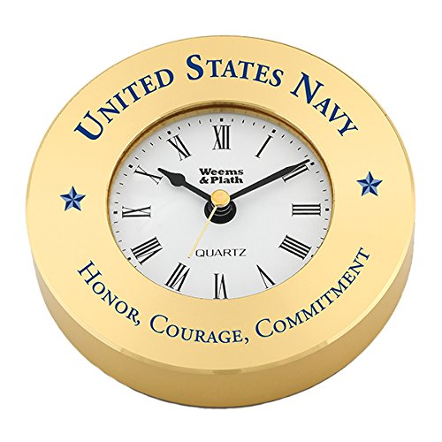 Weems & Plath Brass Clock Chart Weight #NV610500 0408 with United States Navy - Honor, Courage, Commitment (Text Printed in Navy Blue.)