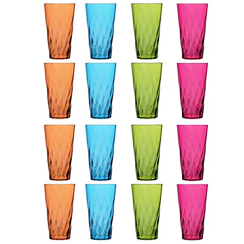Palmetto 20-ounce Plastic Tumblers | set of 16 in 4 Assorted Colors (Set Tumbler Plastic)