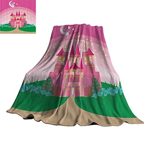 WinfreyDecor Girly Decor Super Soft BlanketsMagic Fantasy Fairy Tale Princess Castle with Pixie in Sky Fictional Dream Kingdom Print 36