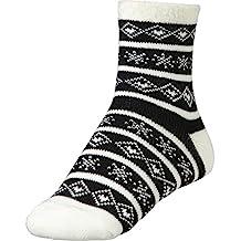 Yaktrax Women's Cozy Cabin Socks Black White
