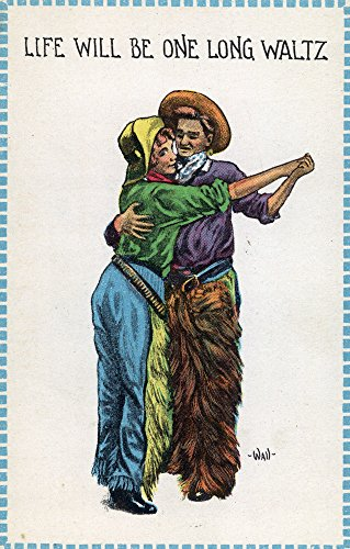 Comic Cartoon - Cowgirl and Cowboy Dancing; Life's Gonna Be One Long Waltz (16x24 Collectible Giclee Gallery Print, Wall Decor Travel (Cartoon Cowgirl)
