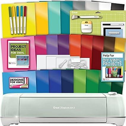 Cricut Explore Air 2 Machine Bundle Tools Pens Vinyl Pack Designs Project Inspiration Amazon In Home Kitchen