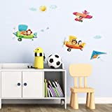 Decowall DA-1506B 3 Animal Biplanes Kids Wall Decals Wall Stickers Peel and Stick Removable Wall Stickers for Kids Nursery Bedroom Living Room