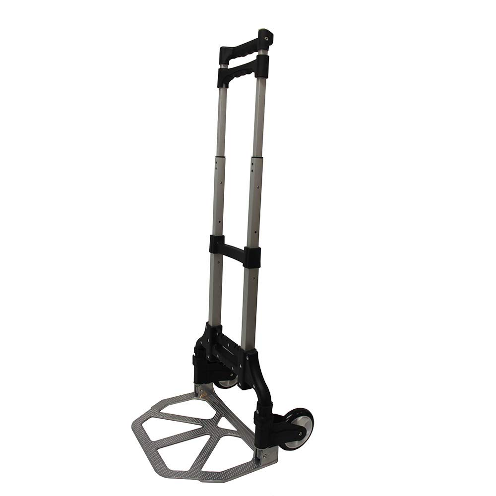 Aluminum Folding Luggage Cart Trolley Hand Truck Adjustable Heavy Duty Light Weight Plastic Wheels 150LB Capacity