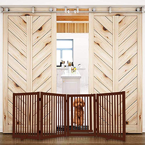 WELLAND Freestanding Wood Pet Gate w/Walk Through Door Cherry, 88-Inch Width, 32-Inch Height (Set of Support Feet Included) ()