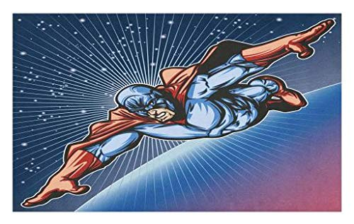 Lunarable Superhero Doormat, Brave Masked Hero Flying in Galaxy Mission Protecting The Universe Image, Decorative Polyester Floor Mat with Non-Skid Backing, 30