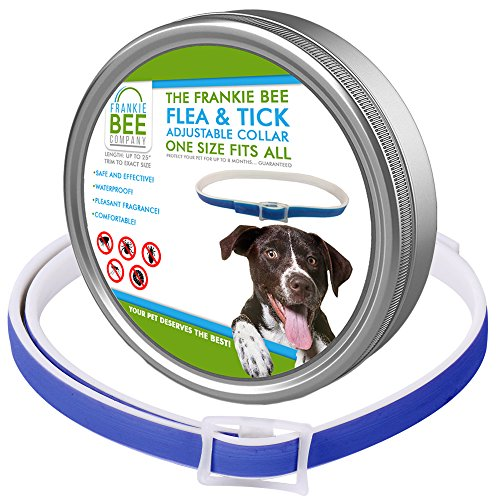 Waterproof Flea & Tick Collar For Dogs, Puppies, Cats & Pets By Frankie Bee Company | Powerful & Safe Ingredients For All Ages & Breeds | 8-Month, Unique & Protective Formula For Your Dog