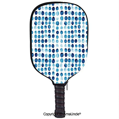 AmaUncle Customized Racket Cover, Stylish Retro Hand Drawn Circles Rounds Color Cells Painted Bubble Like Grungy Style Tile Racket Cover,Protect Your Pickleball Paddles