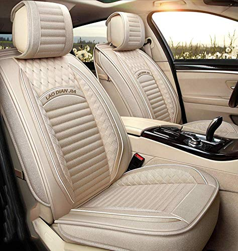 TUNBG Easy To Clean PU Leather Car Seat Cushions 5 Seats Full Set - Anti-Slip Suede Backing Universal Fit Car Seat Covers for Both Fabric And Leather Car Seats,Gray,Beige: Amazon.co.uk: Kitchen & Home